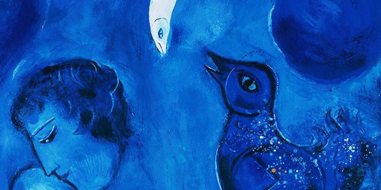 Marc Chagall, Le paysage bleu, 1949, Allemagne, Wuppertal, Von der Heydt Museum © VG Bild-Kunst, Bonn ;  Photo © ARTOTHEK © Adagp, Paris 2019<br /> Exposition Lune - Grand Palais - 2019
